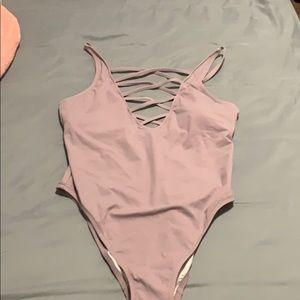 VS pink one piece strappy swim suit